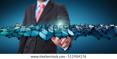 Businessman on blurred background touching abstract wave connection with dots and lines 3D rendering