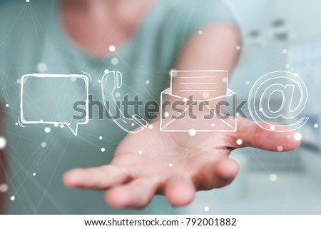 Businessman on blurred background touching and holding manuscript contact icon