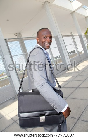 Businessman on business travel journey - stock photo