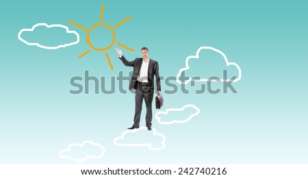 Businessman on clouds.Finance business - stock photo