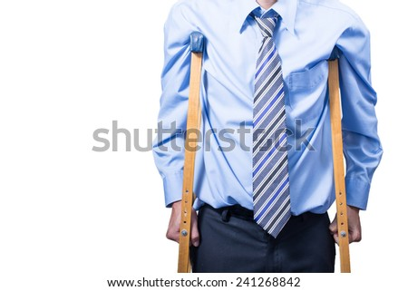 businessman on crutches, isolated on white. - stock photo