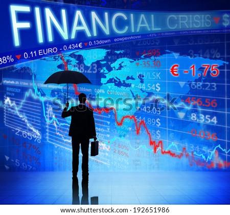 Businessman on Finacial Crisis - stock photo