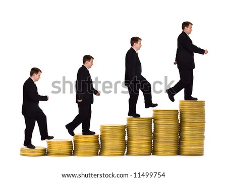 Businessman on money staircase, isolated on white background