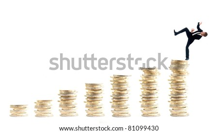 Businessman on money stairs isolated on white background