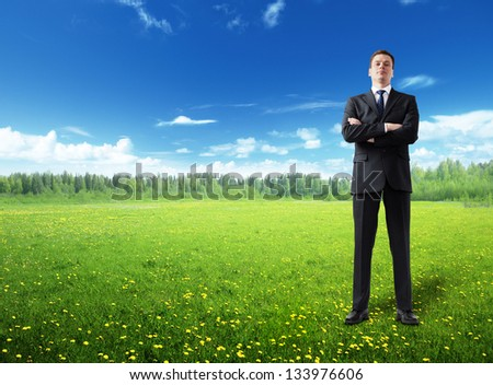 businessman on spring field - stock photo