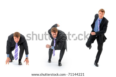 Businessman on starting line isolated over white background - stock photo