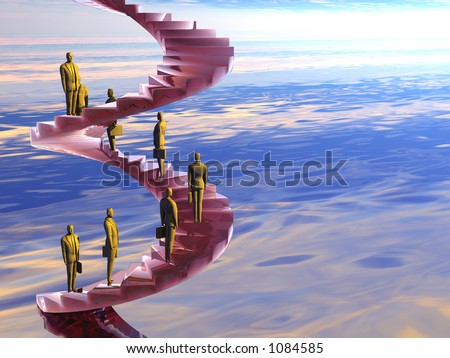 Businessman on the corporate ladder. Career concept. 3D illustration background, copy space, clipping path. - stock photo