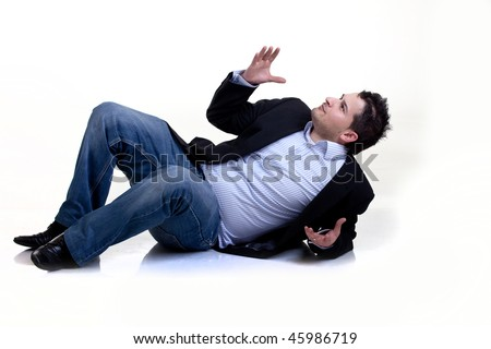 Businessman on the floor Isolated
