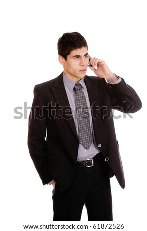 businessman on the phone on white background