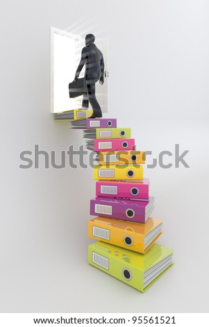 Businessman on the top of career ladder - stock photo
