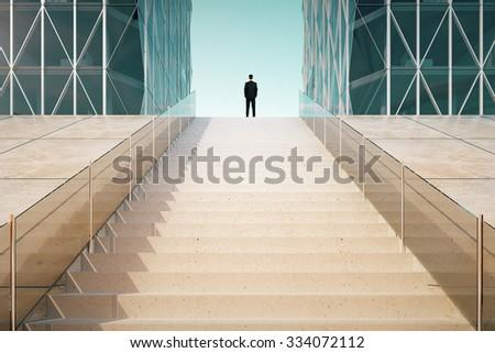 Businessman on the top of stairway between business centers outdoor 3D Render - stock photo