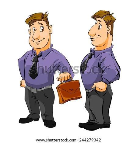 Businessman on white background. Cartoon illustration. - stock photo