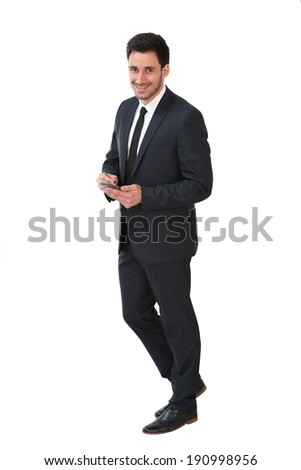 Businessman on white background holding smartphone