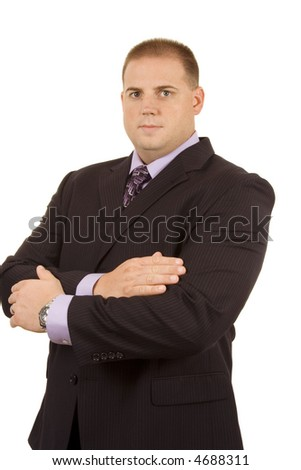 Businessman on white looking into camera - stock photo