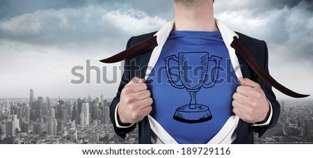 Businessman opening his shirt superhero style against balcony overlooking city - stock photo