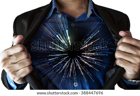 Businessman opening his suit, with abstract motion of lights inside, isolated on white background - stock photo
