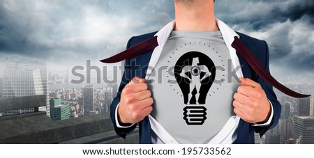Businessman opening shirt in superhero style against balcony overlooking city