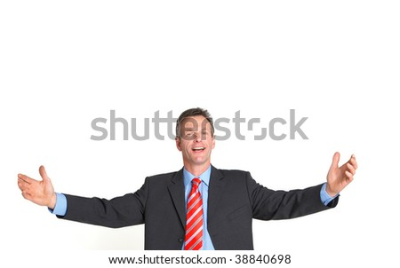 Businessman opens his arms in welcome lots of copy space.