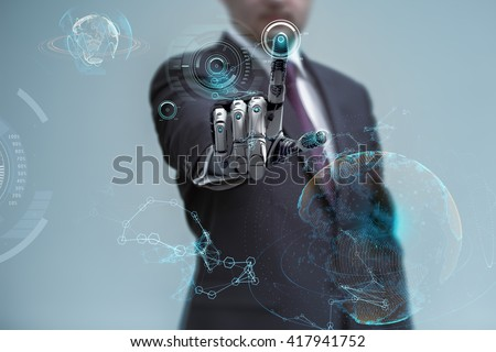 businessman operating virtual hud interface and manipulating elements with robotic hand. Blue holographic screen artificial design concept. - stock photo