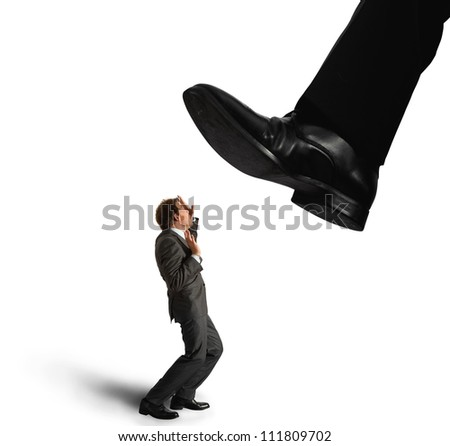 Businessman oppressed by the boss - stock photo