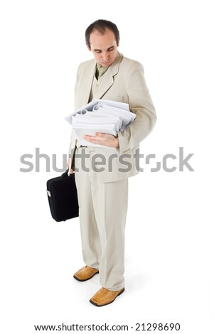 Businessman or clerk with too much work - isolated - stock photo