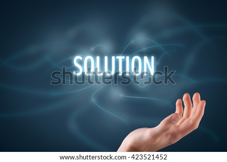Businessman or consultant give you a business solution (helping hand). - stock photo
