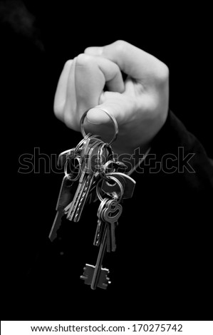 Businessman or real agent giving house keys - stock photo