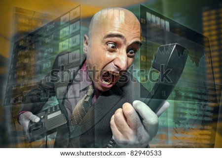 Businessman or stock broker screaming at the phone