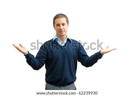 Businessman or teacher with open arms - stock photo
