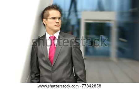 businessman over modern background - stock photo
