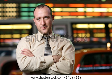 Businessman over stock exchange background - stock photo