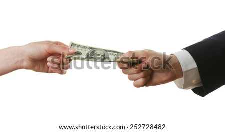 Businessman paying money isolated on white