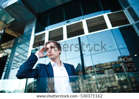 Businessman person. Business man thinking. Office white male. Professional young people. Pensive serious worker or manager in suit. Success work, occupation.