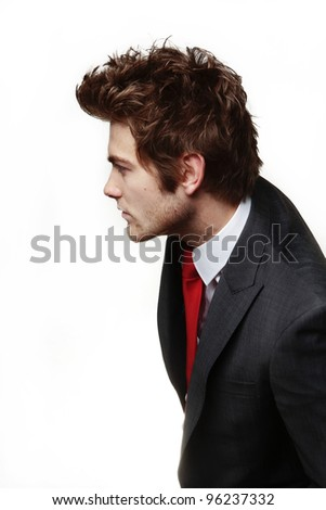 businessman person profile looks like hes standing in a line trying to look round and see whats happening - stock photo