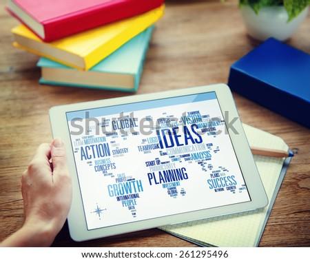 Businessman Planning Digital Tablet Creativity Ideas Concept - stock photo