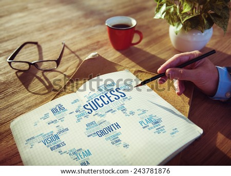 Businessman Planning Global Business Notepad Success Growth Concept - stock photo