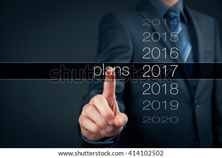 Businessman planning year 2017. Business new year plans, goals and targets concept.
