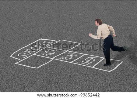 Businessman playing hopscotch towards success taking necessary steps - stock photo