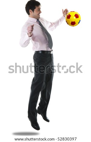 Businessman playing soccer/football, isolated on white - stock photo