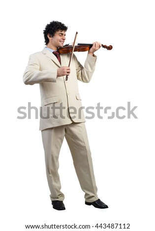 Businessman playing violin