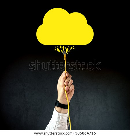 Businessman plugging LAN cable to connect to cloud service, internet technology cloud computing concept, business solution. - stock photo