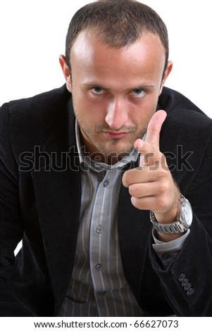 businessman point a finger