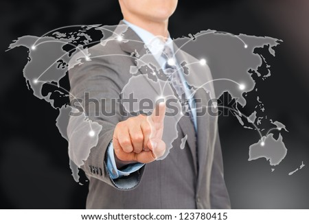 Businessman point finger world map touching on digital connection background futuristic communication interface