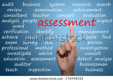 businessman pointing assessment concept  - stock photo