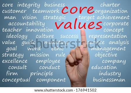 businessman pointing core values concept
