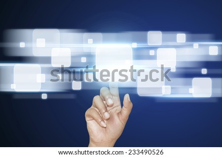 Businessman pointing on touch screen interface - stock photo