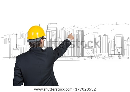 Businessman pointing out construction process 3
