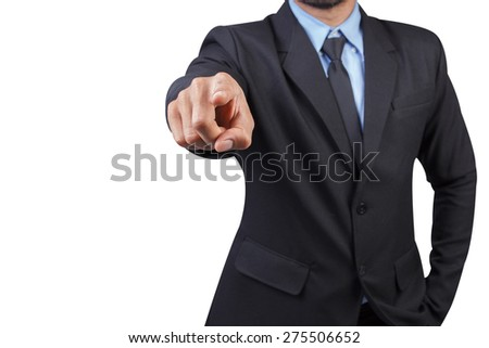 businessman pointing something isolated on white background with clipping path - stock photo