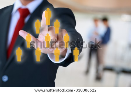 businessman pointing to affiliate marketing organization - stock photo