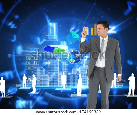 Businessman pointing up against blue background with letters, elements of this image furnished by NASA